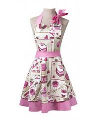 Nostalgie Damenschürze mit Cupcakes in Rosa