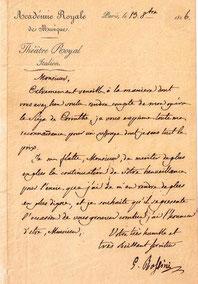 ロッシーニの書簡 (1826年10月   19日付。水谷彰良蔵)