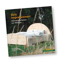 Betten-Broschüre von Möbel Meßmer, Titelseite mit Zirbenbett
