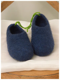 Filzhausschuhe für Kinder Groesse 31 dunkelblau
