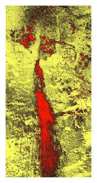 Grafik, Photografik, Fotografik, Photografie, Fotografie, Photo, Foto, Druck, Print, Fotoprint, Wasserfall, Wasser, abstrakt modern, abstract, Fels, Gestein, Natur, gelb, rot, Baum, Bäume,