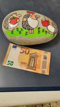 bemater Stein mit Igelmotiven und 50 Euro