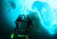 流氷ダイビングとダイバー