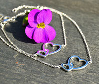 """Sterlingsilber Set Mutter Tochter Armband """"You are in my heart"""""""