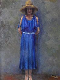 麦藁帽子の女性 ( 油彩・P15 )