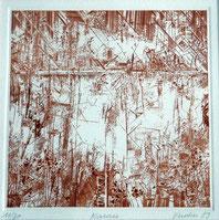 Gravure abstraite couleur sépia
