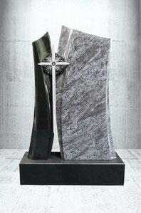Grabstein mit Edelstahl Kreuz und Sternenhimmel