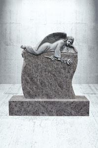 Grabstein mit liegendem Engel mit Rose
