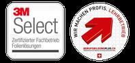 """Logo """"wir bilden lehrlinge aus"""" und 3M selected Partner"""