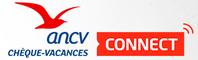 Ce logo de l'Association Nationale des Chèques Vacances indique que l'auberge de la Fabarède, gîtes rural & d'étape en Aveyron, accepte les réglements par Chèques Vacances