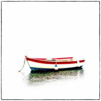 barque de peche bleu blanc rouge