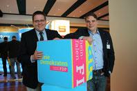 K. Abruszat und J.-F. Kremer, FDP Bürgermeisterkandidat in Selfkant