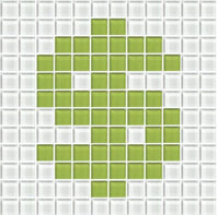 """Dollar sign made out of white and lime green 1"""" glass squares"""
