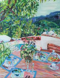 Le doux chant des cigales, peinture à l'huile, Claire ALLARD, bouquet, nature morte