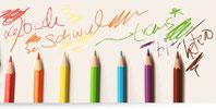 Schule der Vielfalt; bunte Bleistift schreiben lesbisch, schwul, trans*, bi, hetero