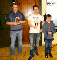 v.r.: Alexander Meili (bester Junior 2015),  Stephan Zaugg (Schachmeister beider  Rheinfelden und Vereinsmeister 2015) und Markus Krüttli (2. Rang Vereinswertung RHY)