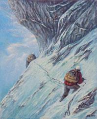 Bergsteiger in der Eigernordwand 1956