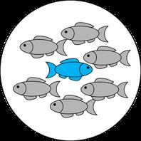 Man sieht unser Logo. Es zeigt Fische und einer von ihnen schwimmt gegen den Berufsstrom.