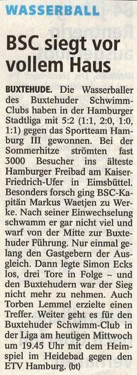 Buxtehuder Tageblatt vom 8. Juli 2015: Wasserball/ BSC siegt vor vollem Haus