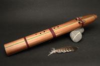 Drone-Flöte aus Redwoodcedar, Stein-Malachit, Ton Cis, 432 Hz