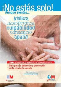 Guía para la detección y prevención de la conducta suicida para sanitarios y facilitadores sociales.  Comunidad de Madrid, 2014.