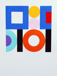 Ellen Roß: squares & circles n°6, 2018, 31 x 41 cm, Vinyl auf Bütten