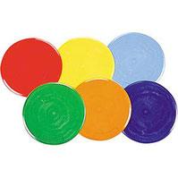 Matériel de jeu sportif de 6 marques au sol rondes de qualité en PVC et à acheter pas cher. Marques au sol rondes à utiliser pour jouer au bumball.