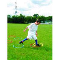 Ensemble de 12 cerceaux plats pour activités sportives des enfants. cerceaux plats de délimitation à acheter pas cher.