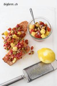 Lachs Rezept, Schweizer Foodbloggerin, Lachs mit Tomaten-Ananas-Salsa, Blog Schweiz