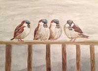 Vier Spatzen auf einem Geländer. Sie stehen für gutes Einvernehmen. Acrylbild von Claudia Pichler.