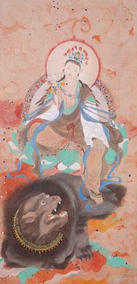 文殊师利 MANJUSRI  89X43CM 纸本水墨与矿物色 INK & MINERAL COLOR ON PAPER  2010 (收藏于日本 COLLECTED IN JAPAN)