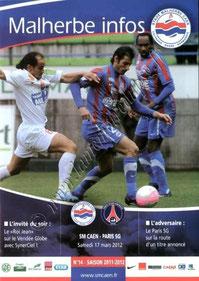 2012-03-17  Caen-PSG (28ème L1, Malherbe infos N°14)