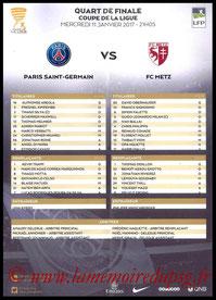 Feuille de match  PSG-Metz  2016-17
