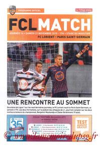 Programme  Lorient-PSG  2015-16