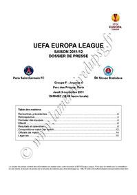 2011-11-03  PSG-Slovan Bratislava (4ème poule C3, Dossier de presse)