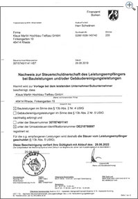 MartinBau - Bescheinigung Umkehr der Umsatzsteuerschuld