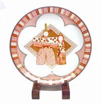 九谷焼 飾り皿 赤絵細描 立雛文