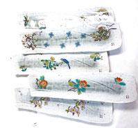 九谷焼『焼き魚用長皿』5枚セット『裏絵』