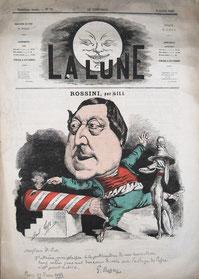 ロッシーニのカリカチュア        (パリ 1867年。水谷彰良蔵)