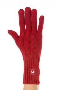 Alpaka Fingerhandschuh rot mit Zopfmuster