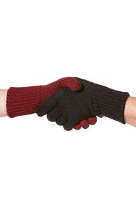 Fingerhandschuhe rot oder schwarz meliert
