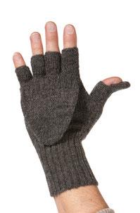 Fingerlose Alpaka Handschuhe schwarz