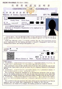 在留資格認定証明書 査証