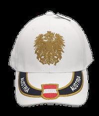 Kappe Austria weiß, Stick Wappen und Adler