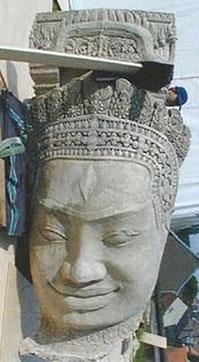 Moulage d'une tête du temple du Bayon © Cliché Paul Labesse