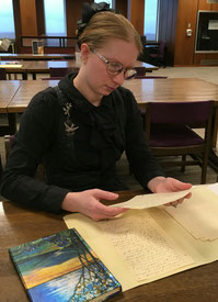Hieber with Driscoll's letters at Kent State Special Collections Library