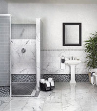 Bianco Venatino or Carrara Marble Bathroom, shower, and floor tiles. Black and white mosaics with a white pedestal sink and a white claw foot tub.
