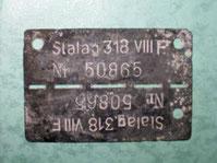 1. Алюминиевая пластина с номером военопленного