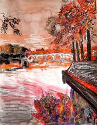 Toulouse en automne, pastel gras et encre de chine, Claire ALLARD, paysage