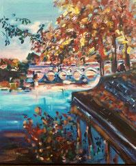 Toulouse en automne, peinture à l'huile, Claire ALLARD, paysage